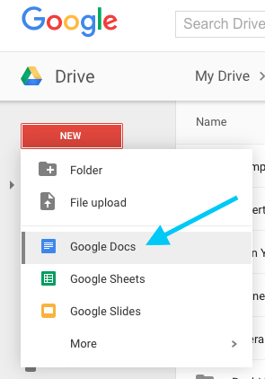 Create a new Google doc