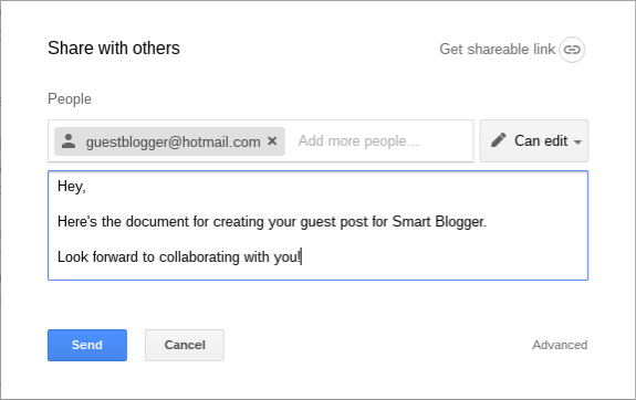 Share a Google Doc with personal message