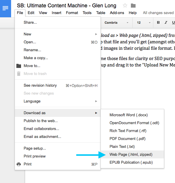 Download images in Google Docs