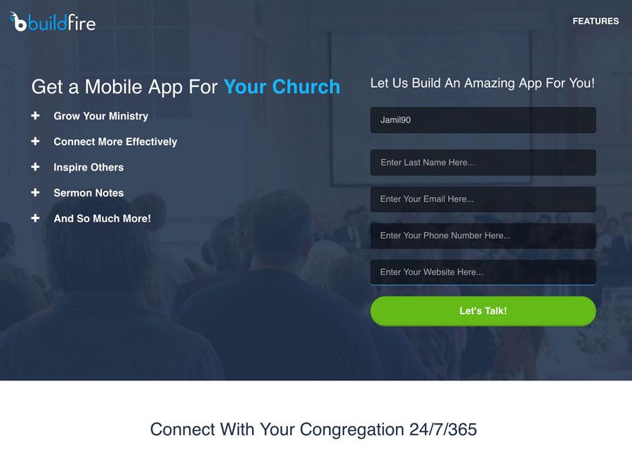 church-app-landing-page