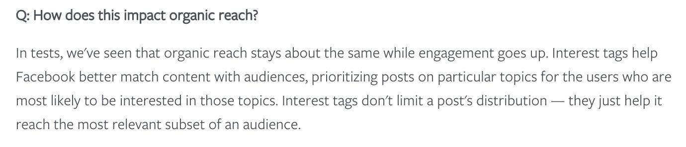 Facebook Interests Tag