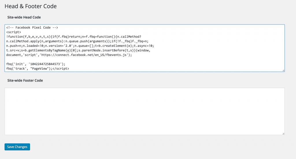Add FB Pixel Code in WordPress