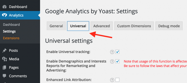 Universal Settings Yoast