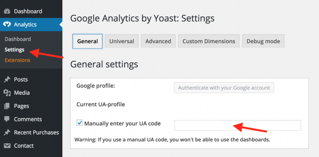 Google analytics - Yoast Settings