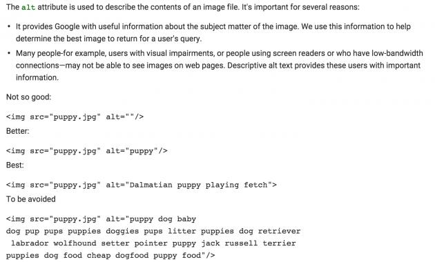 Google guidelines for ALT Text