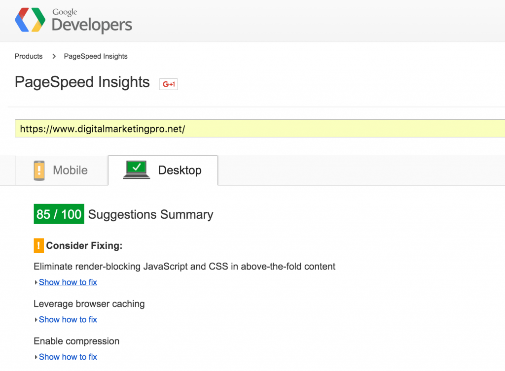 Google page speed insights