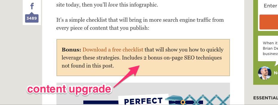 Content Upgrade Example