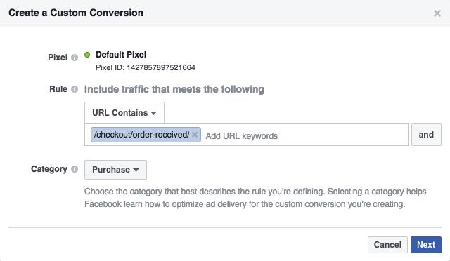 Facebook conversions woocomerce