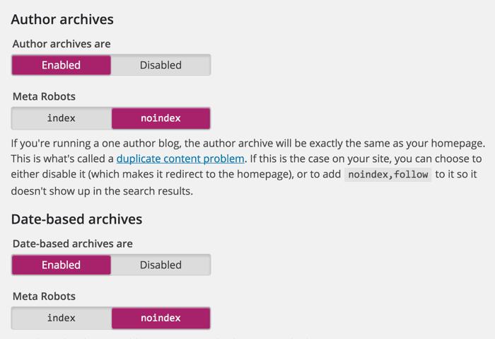 Author archive noindex
