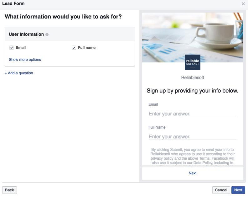 Facebook Lead Ads Settings