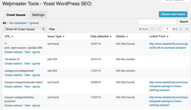 Google Crawl isse WordPress dashboard
