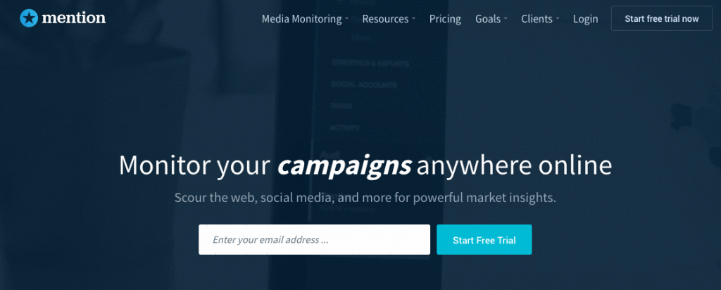 mention landing page example