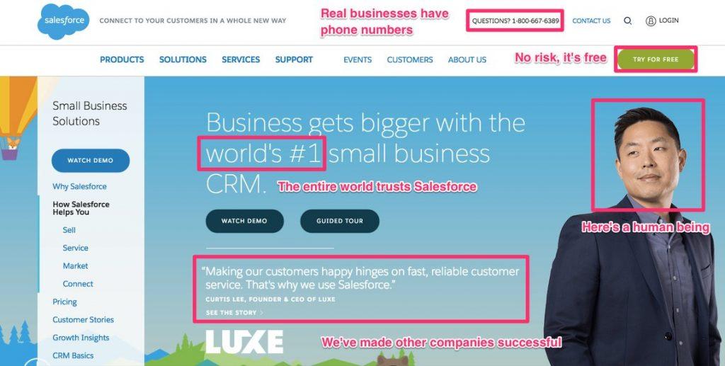 salesforce landing page
