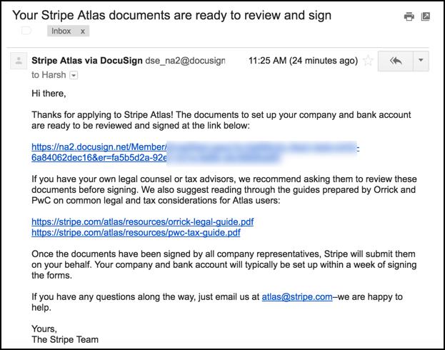 Stripe Atlas document for signing