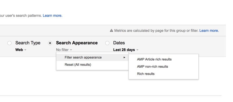 AMP Statistics in Google Search Console