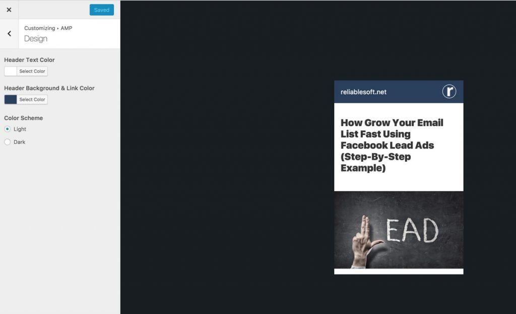 AMP WordPress Plugin Settings
