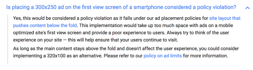 Adsense policy for mobile ads