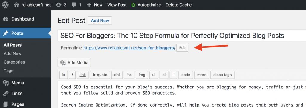 How to edit WordPress URL