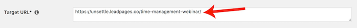 WordPress - Pretty Link Target URL