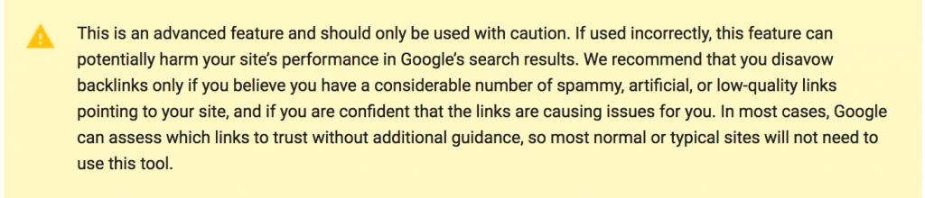 google disavow tool warnings