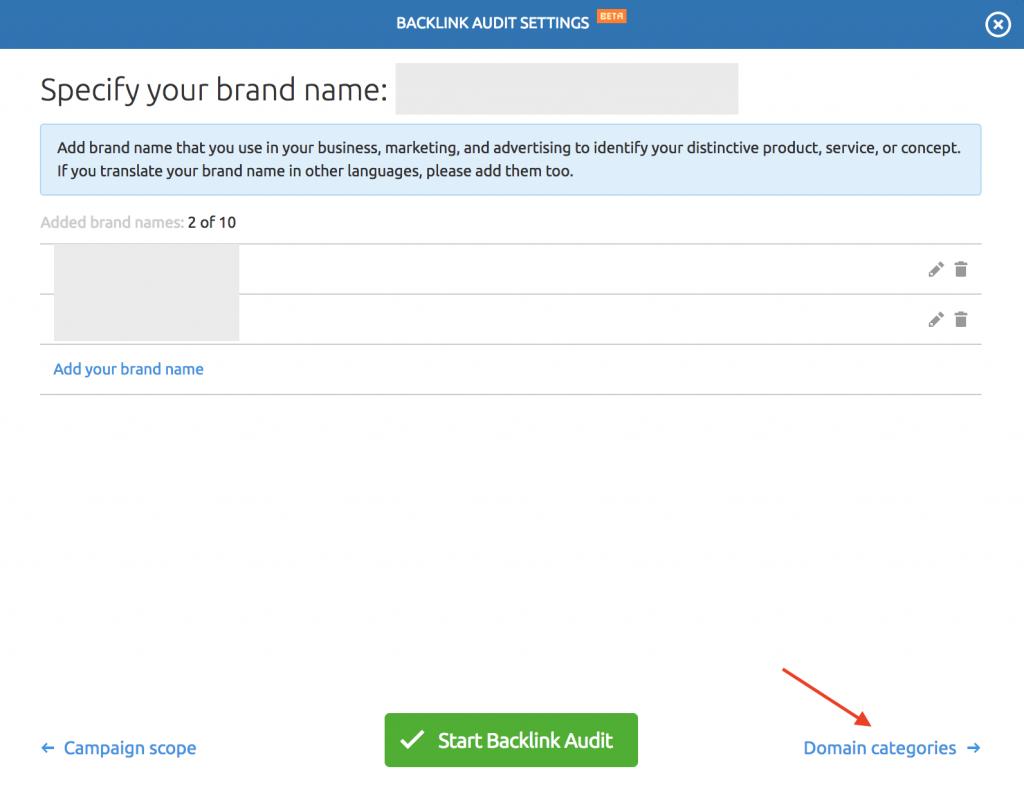 semrush brandname settings