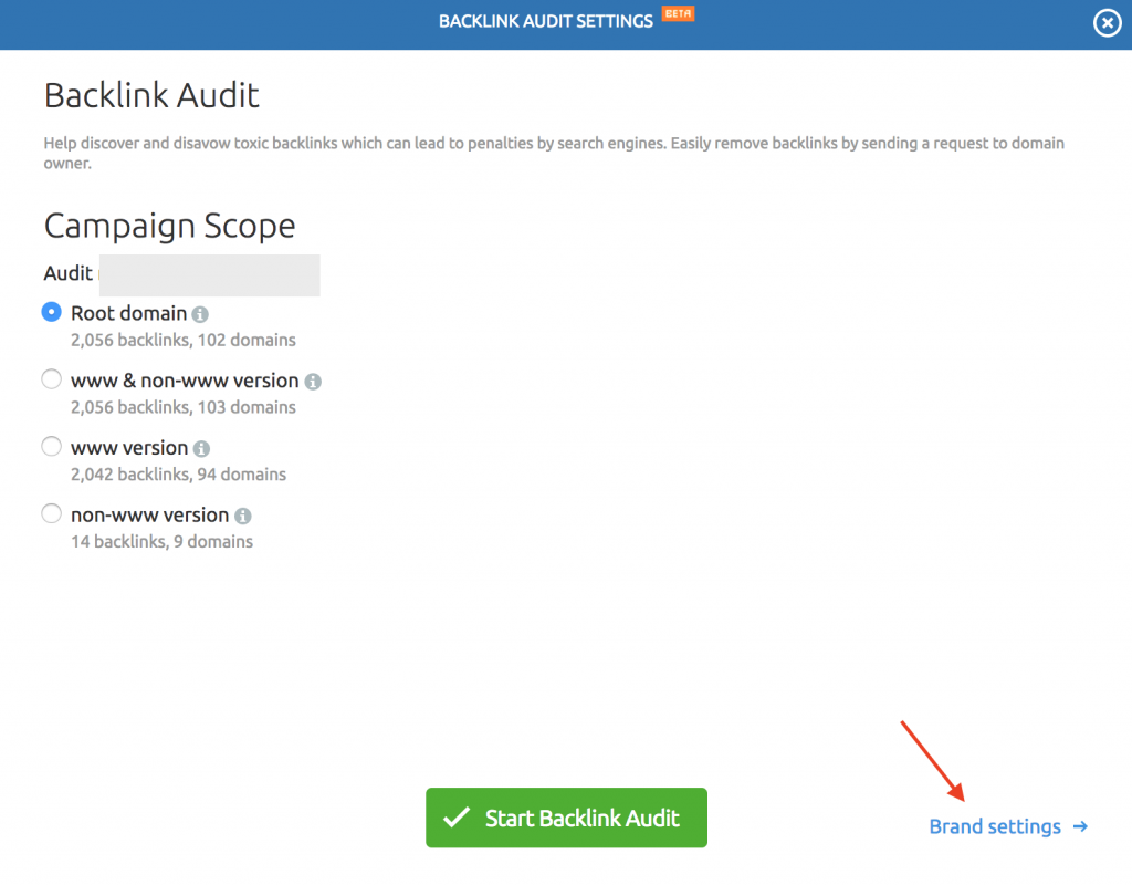 semrush backlink campaign settings