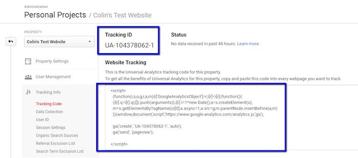 Google Analytics Tracking Code and ID