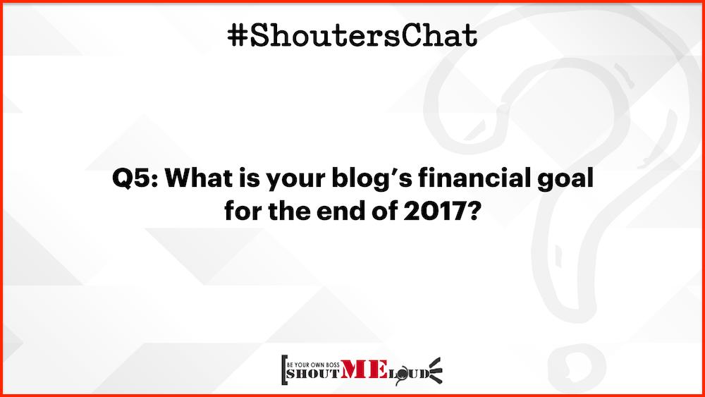Blog's financial goal