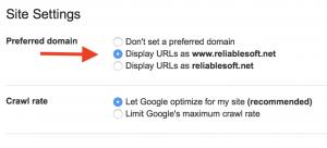 preferred domain google search console