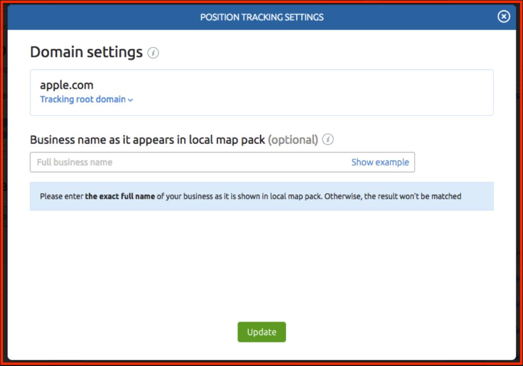 SEMRush Position Tracking Settings