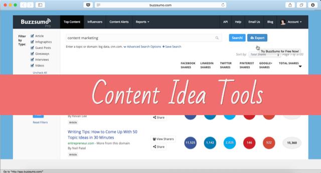 Content idea generation tools