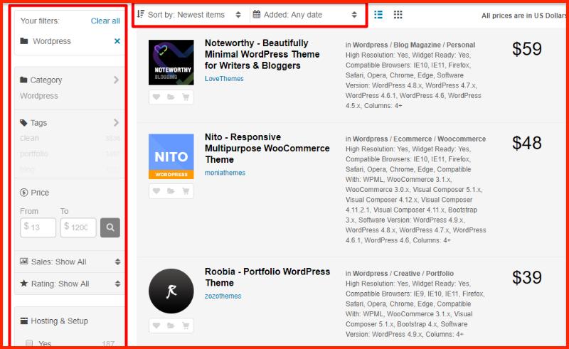 Theme Forest WordPress category