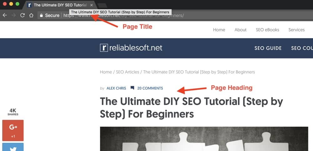 Example of Same Page Title and Heading
