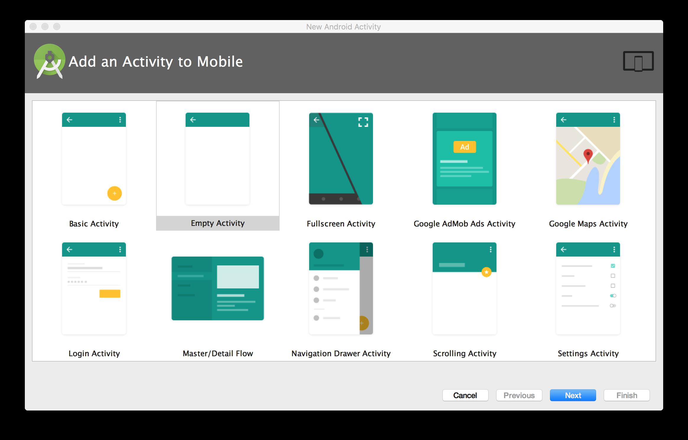 Galeri Aktivitas di Android Studio
