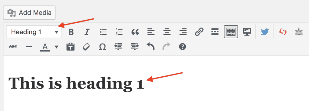 Setting text as heading 1