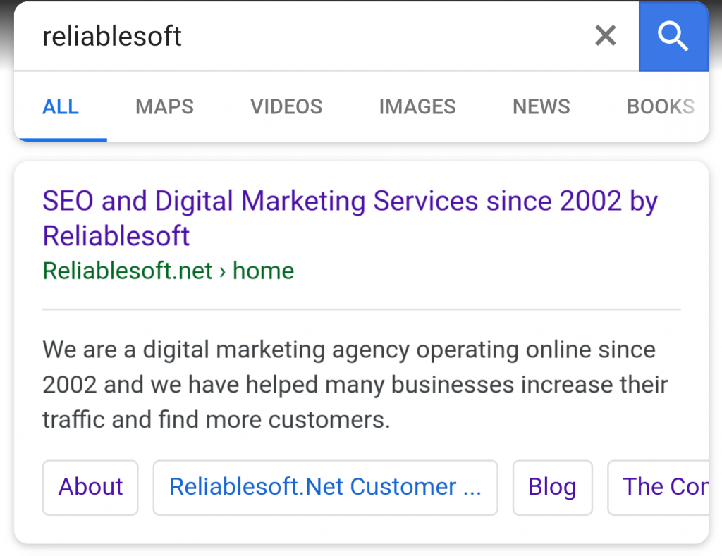 Example of Sitelinks in Google Mobile Results