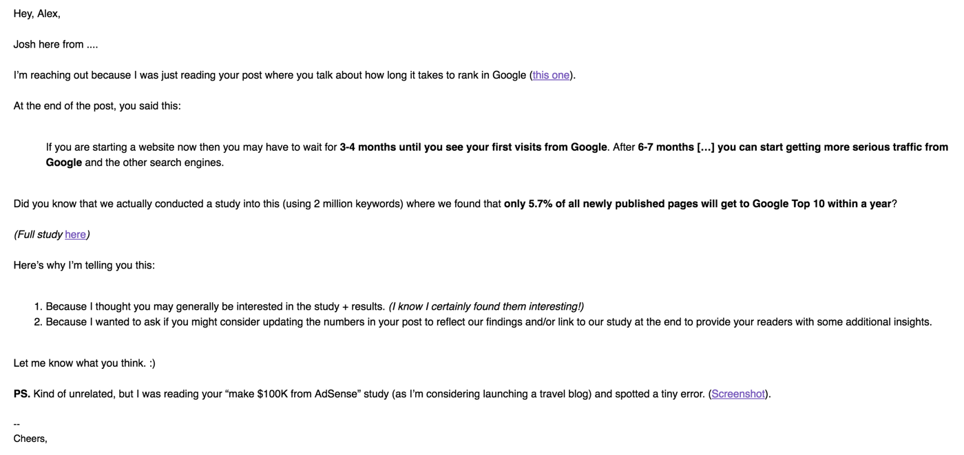 Example: Personalized email asking for links