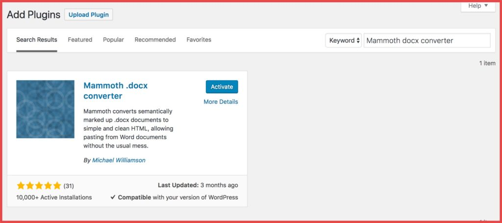 Import docx file to WordPress