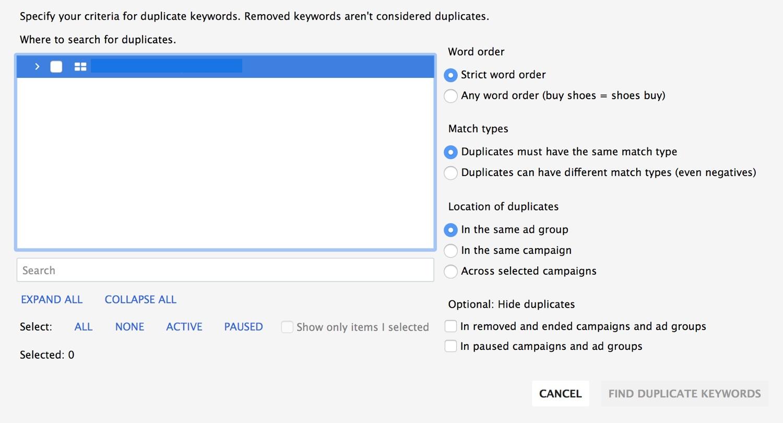 Duplicate Keyword Tool in Google Adwords Editor