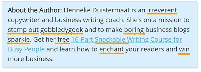 Using Power Words in Author Bios - Henneke Duistermaat