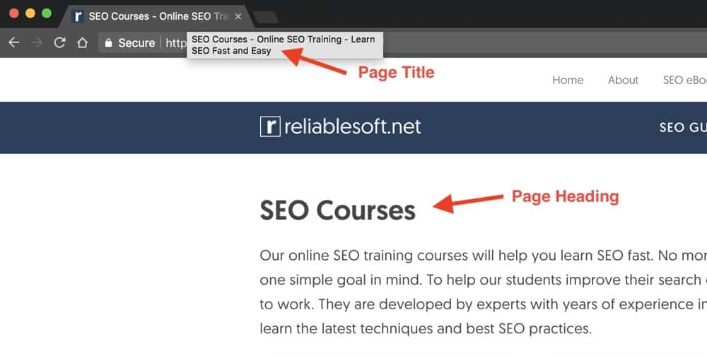 Example of a Page having different page title and heading