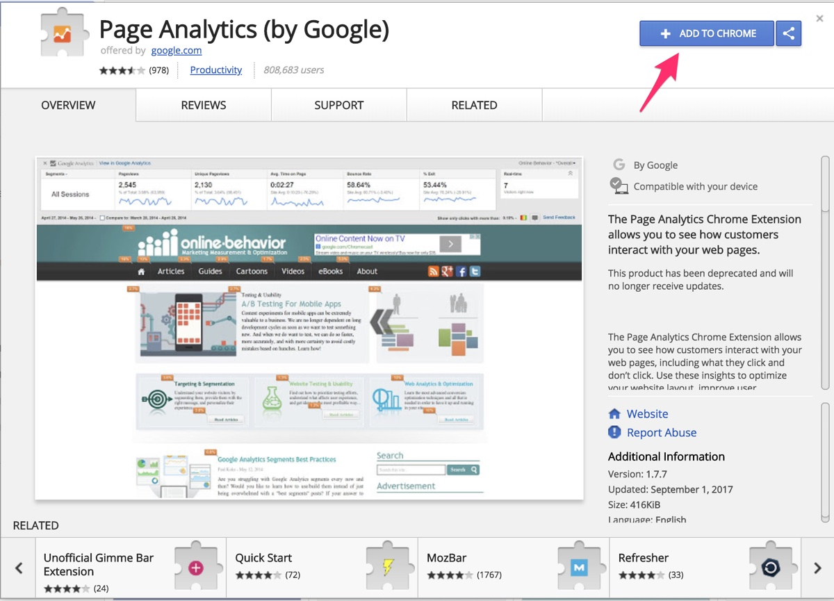 Page Analytics Chrome Extension
