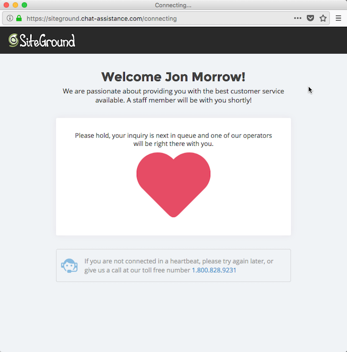 SiteGround Live Chat