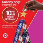 Target 10% Off Gift Cards Promo: Sunday, December 2nd, 2018