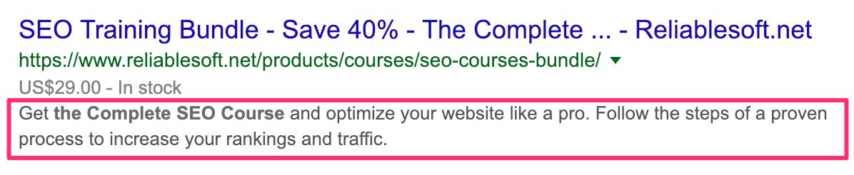 Landing Page Meta Description Example