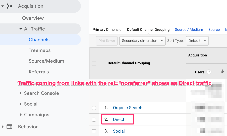 rel=noreferrer in Google Analytics