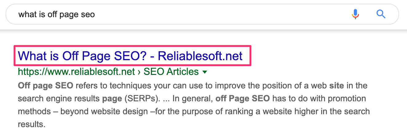 Title in Google Search Results