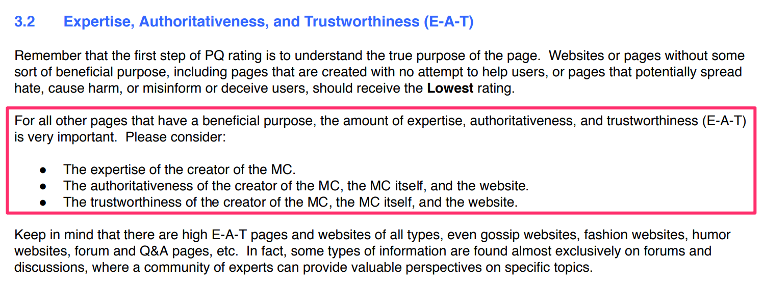 Importance of Expertise, Authority and Trustworthiness for Rankings.
